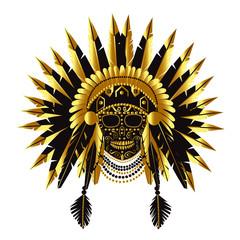 Skull with American Indian war bonnet vector illustration