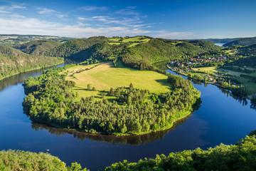 Printed kitchen splashbacks River View of Vltava river horseshoe shape meander from Solenice viewpoint, Czech Republic