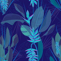 Branch tropical heliconia flower leaves seamless background. Watercolor realistic drawing in flat blue color style. isolated on white background