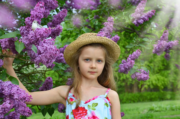spring girl portrait with lilac flowers