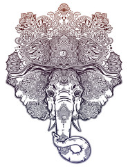 Decorative elephant with beautiful ornate crown.