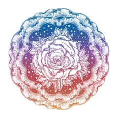 Decorative starry ornate boho frame with rose bud.