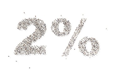 many people in form text two percent 3d rendering