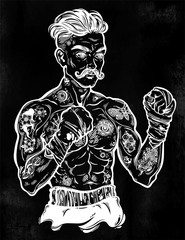 Vintage tattooed retro boxer fighter champion.