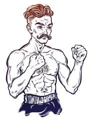 Vintage retro boxer fighter, player illustration.