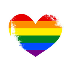 Lesbian, gay, bisexual, transgender LGBT pride heart. Rainbow flag. Grunge heart. Gay and lesbian love.