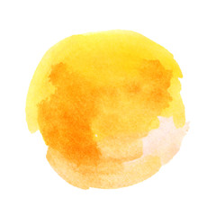 Sunny yellow watercolor hand-painted circle