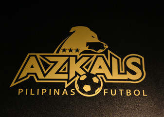 The logo of the Azkals, Philippine's national football team, is seen at a football merchandise store in Katipunan, Quezon City