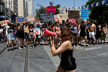 """Israelis participate in the annual """"Slut Walk"""" protest against sexual violence and crimes in Jerusalem"""