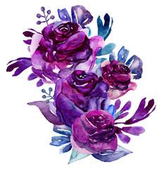 Watercolor purple flowers clip art. Floral bouquet illustration
