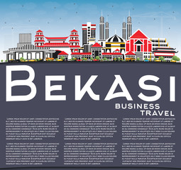 Bekasi Indonesia City Skyline with Color Buildings, Blue Sky and Copy Space.