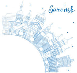 Outline Saransk Russia City Skyline with Blue Buildings and Copy Space.