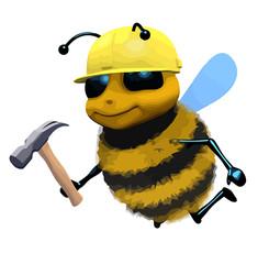 3d Cartoon honey bee character dressed as a builder