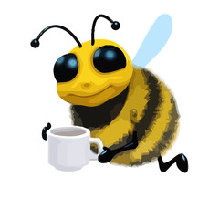 3d Cartoon honey bee character drinking a cup of tea