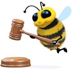 3d Cartoon honey bee character holding an auction
