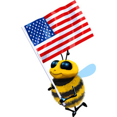 3d Bee stars and stripes