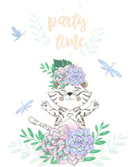 tiger digital clip art cute animal and flowers on head. Party Time text. Greeting Celebration Birthday Card Funny african wildlife Kid style Bounquet on white background