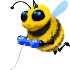 3d Honey Bee cartoon character playing video game