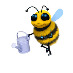 3d honey bee character with watering can.