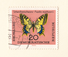 An old brown east german stamp with an image of a swallowtail butterfly
