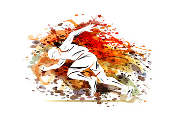 Vector illustration of a running man on watercolor background