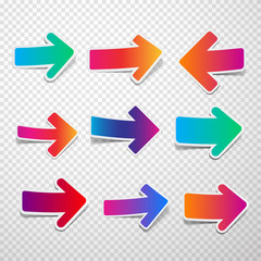 Set of colorful straight arrows.