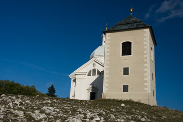 Holy Hill (Svaty Kopecek) with Saint Sebastian chapel, Mikulov, Czech Republic, Europe