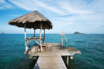 Wooden pier and hut in Phuket, Thailand. Summer, Travel, Vacation and Holiday concept.