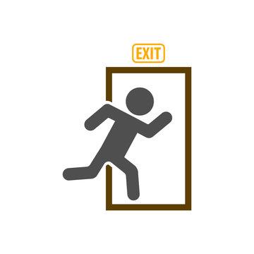 Exit icon, emergency exit symbol