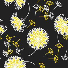 Black and white dandelion flowers seamless pattern.