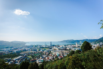 Patong cityscape viewpoint above jungle and city in the morning
