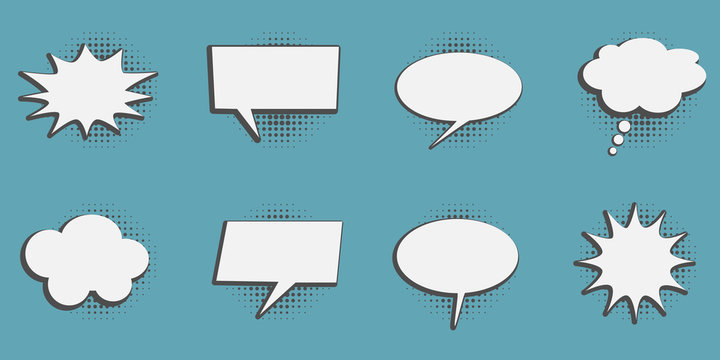Set of speech bubbles in retro cartoon style design elements