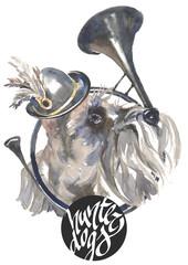 The Miniature Schnauzer, hunter dogs card designs, editable logo, you can enter your logo or text