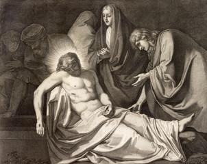 REGGIO EMILIA, ITALY - APRIL 12, 2018: The lithography  Burial of Jesus  (cross way) in church Chiesa di Santo Stefano by Benedetto Eredi (1750 - 1812).