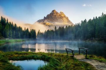 Dolomites, Italy landscape at Lake Antorno.