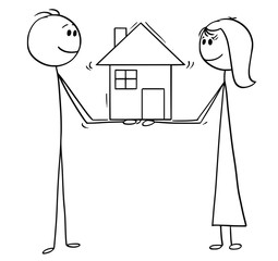 Cartoon stick man drawing conceptual illustration of man and woman holding together the family house of dreams. Concept of real estate investment.