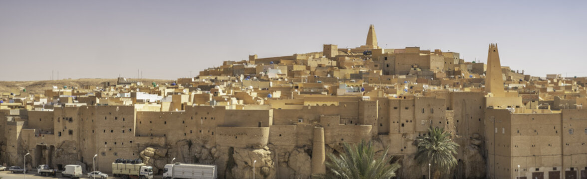 Panoramic view of Ksar Bounoura, one of the five cities making up what is referred to as the M'Zab Pentapolis, Algeria