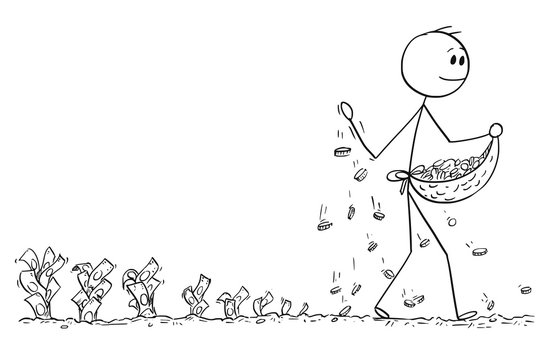 Cartoon stick man drawing conceptual illustration of businessman seeding or sowing coins and harvesting bills or banknotes. Business concept of investment and profit.