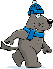 Cartoon Wolf Winter