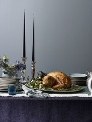 Roast turkey on table