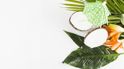 Coconuts and cocktail umbrella