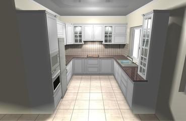 interior design classic white large kitchen 3D rendering