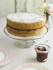 Victoria sponge cake with jam filling