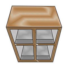 kitchen drawer wooden and glass vector illustration design