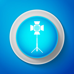 White Movie spotlight icon isolated on blue background. Light Effect. Scene, Studio, Show. Circle blue button with white line. Vector Illustration