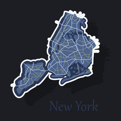 New York City Map - sticker illustration