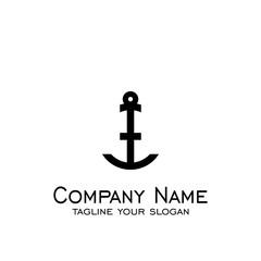Anchor logo vector, simple design.