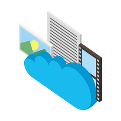 cloud computing photo file film isometric vector illustration