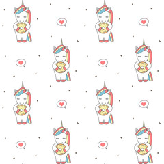 cute cartoon seamless vector pattern background illustration with unicorn eating donut