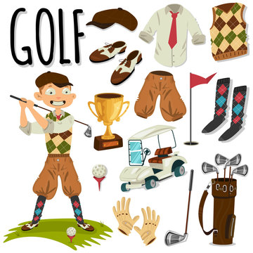 Golfer and golf accessories. Vector cartoon object set isolated on a white background.